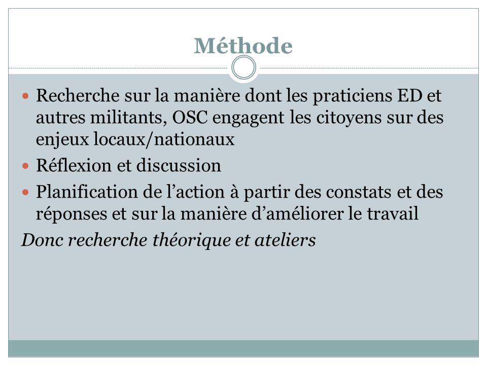 Méthode Recherche sur la manière dont les praticiens ED et autres militants, OSC engagent les citoyens sur des enjeux locaux/nationaux Réflexion et di