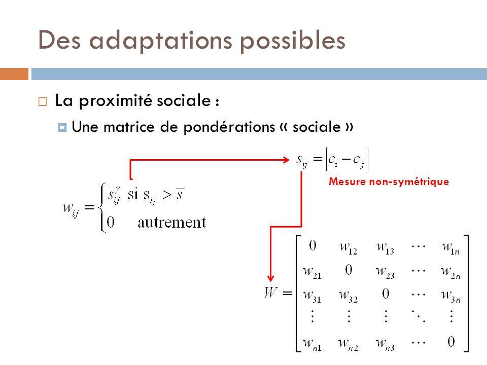Des adaptations possibles  La proximité sociale :  Une matrice de pondérations « sociale » Mesure non-symétrique