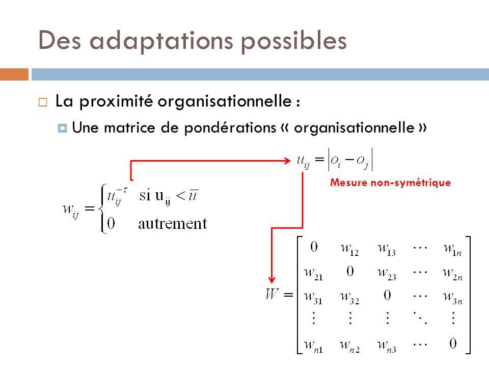 Des adaptations possibles  La proximité organisationnelle :  Une matrice de pondérations « organisationnelle » Mesure non-symétrique
