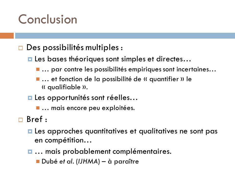 Conclusion  Des possibilités multiples :  Les bases théoriques sont simples et directes… … par contre les possibilités empiriques sont incertaines…
