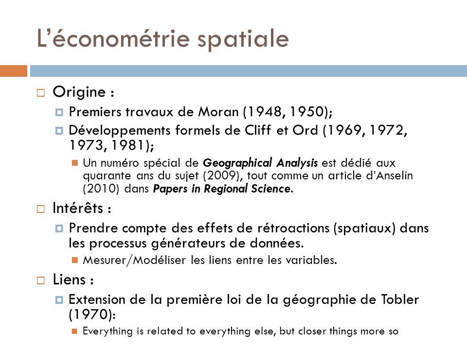 L'économétrie spatiale  Origine :  Premiers travaux de Moran (1948, 1950);  Développements formels de Cliff et Ord (1969, 1972, 1973, 1981); Un num