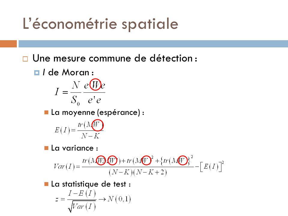 L'économétrie spatiale  Une mesure commune de détection :  I de Moran : La moyenne (espérance) : La variance : La statistique de test :