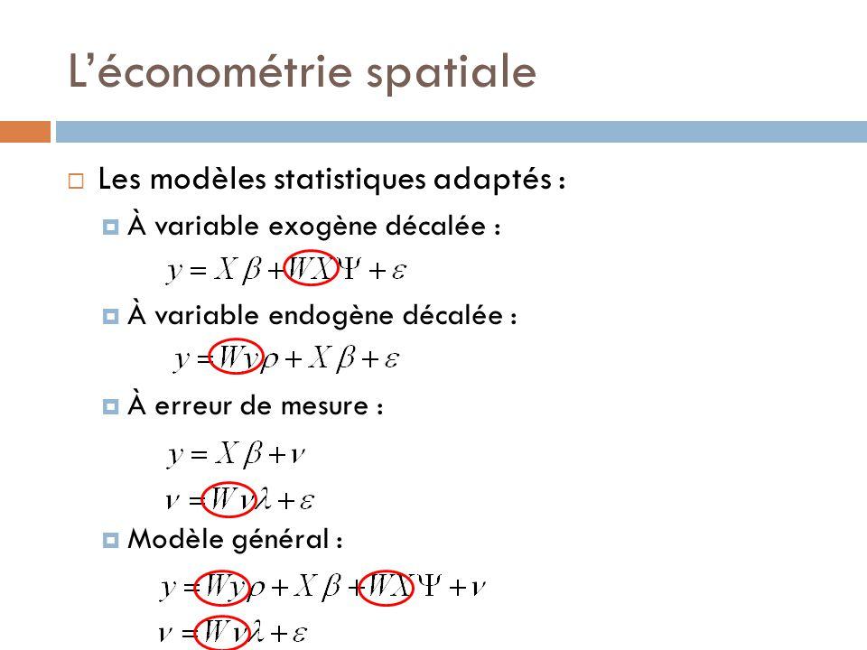L'économétrie spatiale  Les modèles statistiques adaptés :  À variable exogène décalée :  À variable endogène décalée :  À erreur de mesure :  Mo