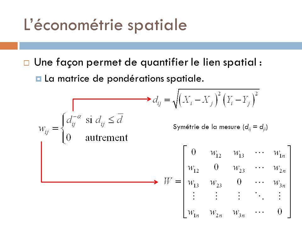 L'économétrie spatiale  Une façon permet de quantifier le lien spatial :  La matrice de pondérations spatiale. Symétrie de la mesure (d ij = d ji )