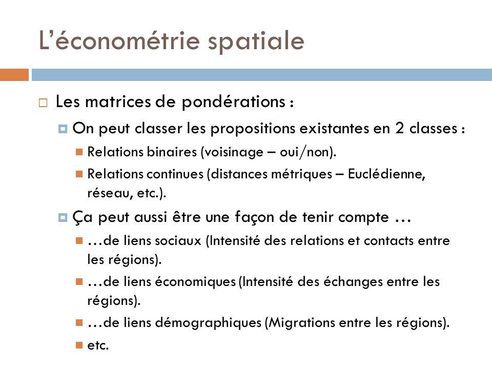 L'économétrie spatiale  Les matrices de pondérations :  On peut classer les propositions existantes en 2 classes : Relations binaires (voisinage – o