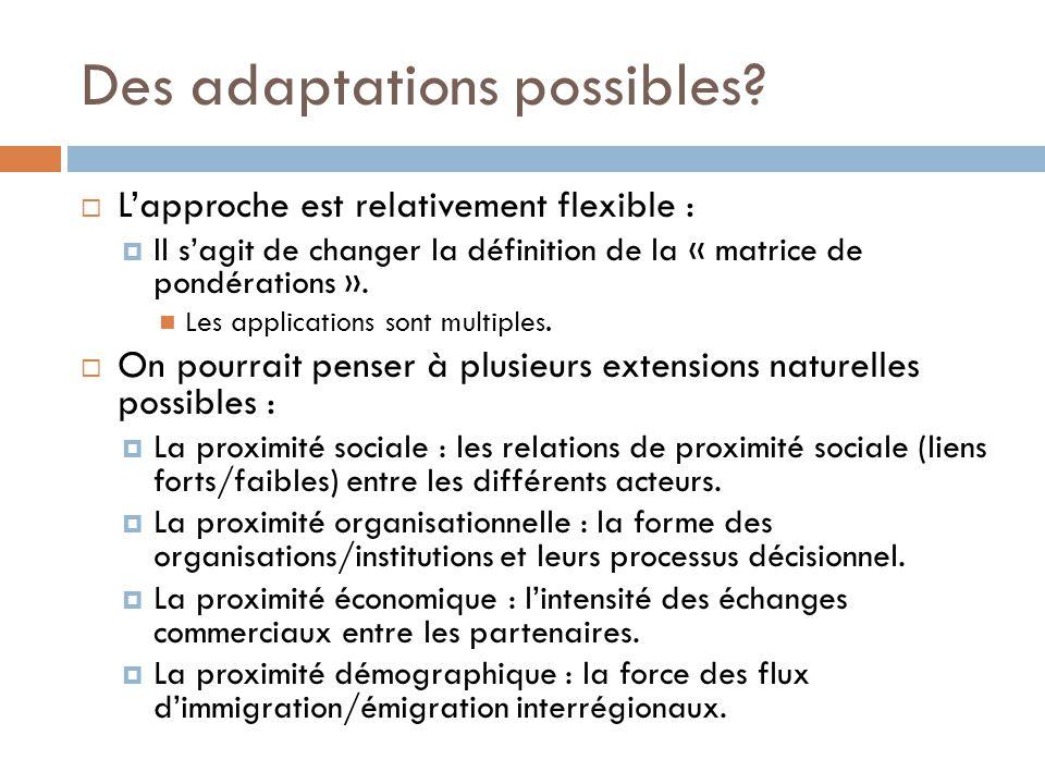 Des adaptations possibles?  L'approche est relativement flexible :  Il s'agit de changer la définition de la « matrice de pondérations ». Les applic
