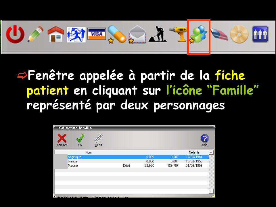  Fenêtre appelée à partir de la fiche patient en cliquant sur l'icône Famille représenté par deux personnages