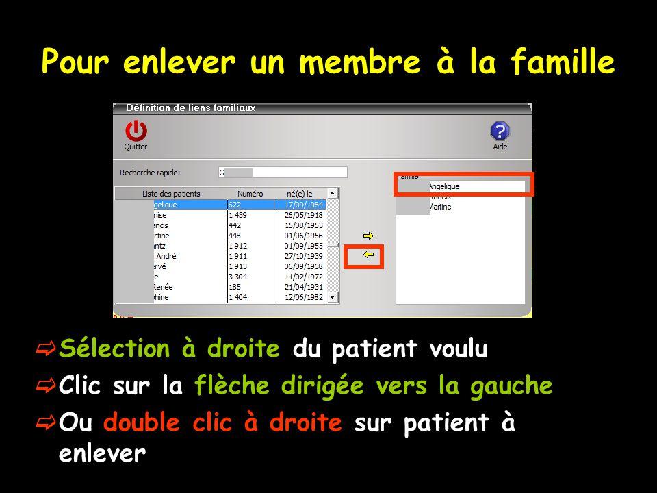 Pour enlever un membre à la famille  Sélection à droite du patient voulu  Clic sur la flèche dirigée vers la gauche  Ou double clic à droite sur patient à enlever