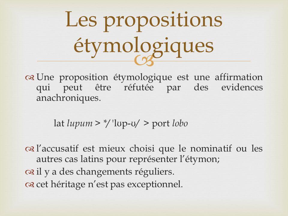   Une proposition étymologique est une affirmation qui peut être réfutée par des evidences anachroniques.