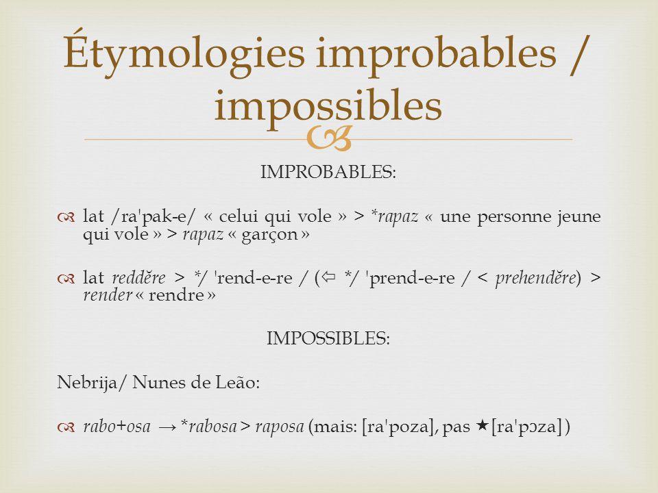 IMPROBABLES:  lat /ra pak-e/ « celui qui vole » > *rapaz « une personne jeune qui vole » > rapaz « garçon »  lat reddĕre > */ rend-e-re / (  * / prend-e-re / render « rendre » IMPOSSIBLES: Nebrija/ Nunes de Leão:  rabo+osa → * rabosa > raposa (mais: [ra poza], pas  [ra p ɔ za] ) Étymologies improbables / impossibles