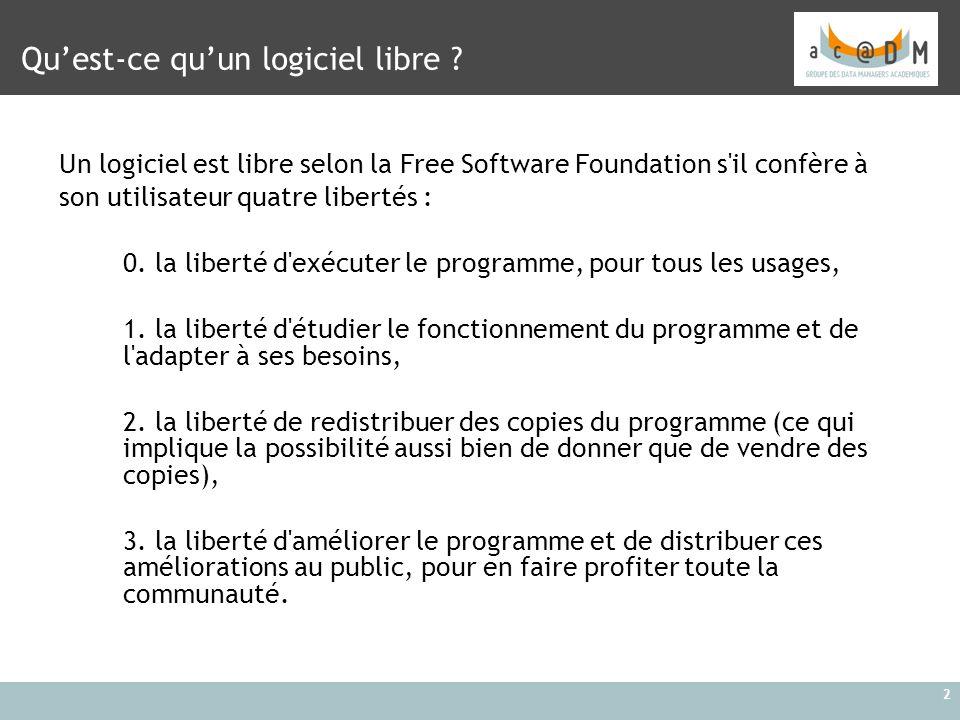 2 Qu'est-ce qu'un logiciel libre ? Un logiciel est libre selon la Free Software Foundation s'il confère à son utilisateur quatre libertés : 0. la libe