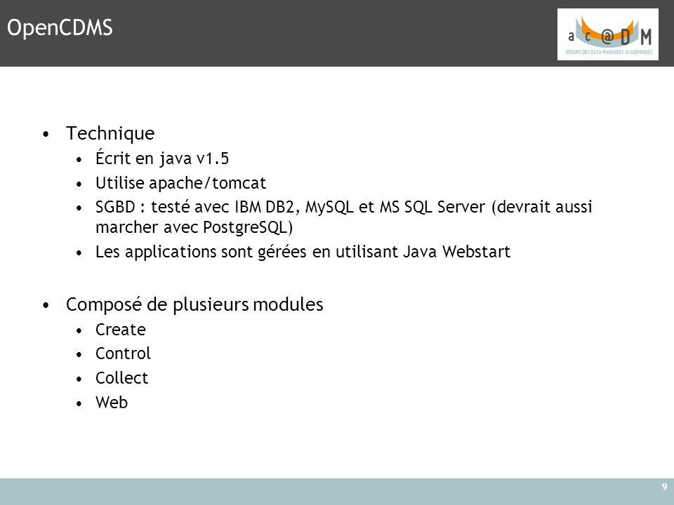 9 Technique Écrit en java v1.5 Utilise apache/tomcat SGBD : testé avec IBM DB2, MySQL et MS SQL Server (devrait aussi marcher avec PostgreSQL) Les app