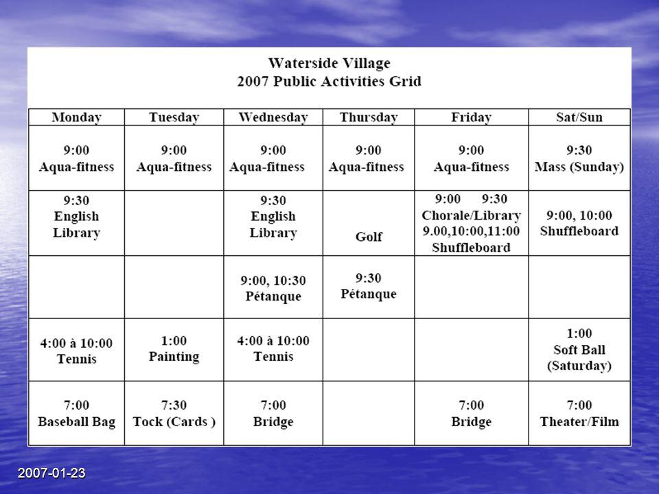 2007-01-23 ACTIVITIES 2007