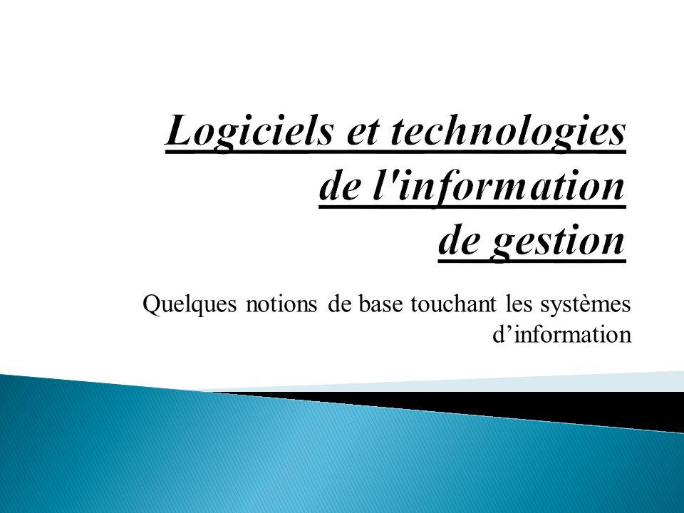 Quelques notions de base touchant les systèmes d'information