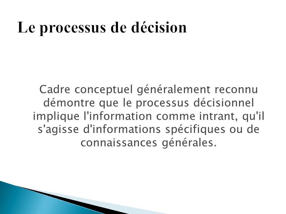 Cadre conceptuel généralement reconnu démontre que le processus décisionnel implique l'information comme intrant, qu'il s'agisse d'informations spécif