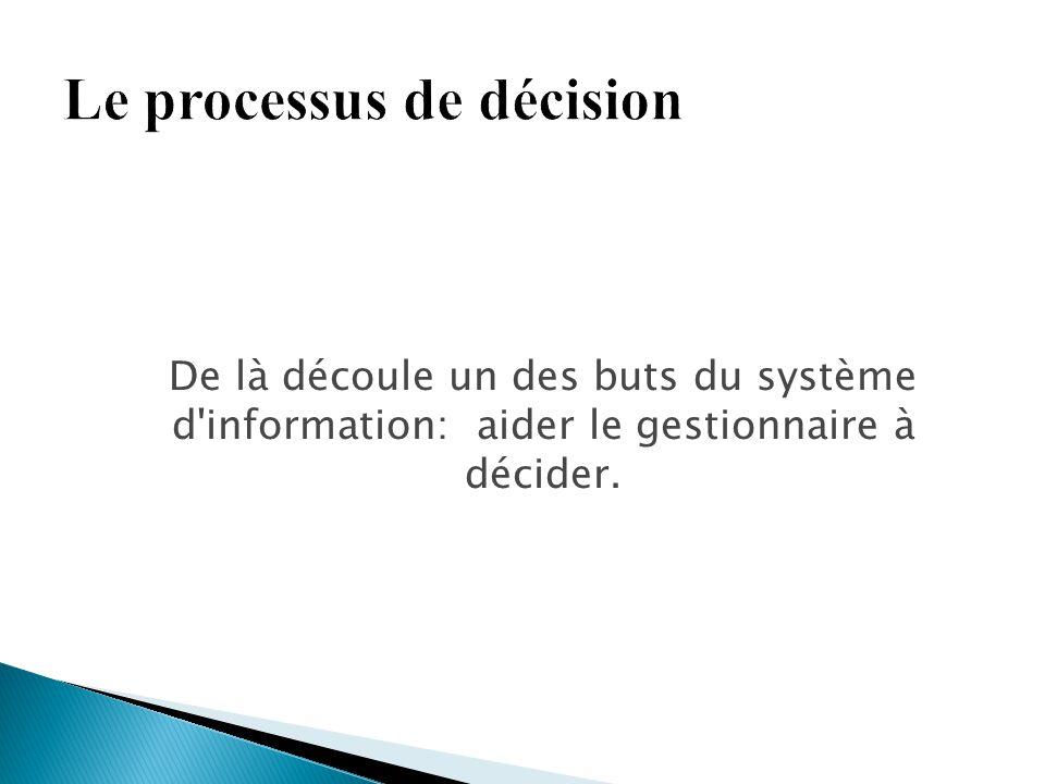 De là découle un des buts du système d'information: aider le gestionnaire à décider.