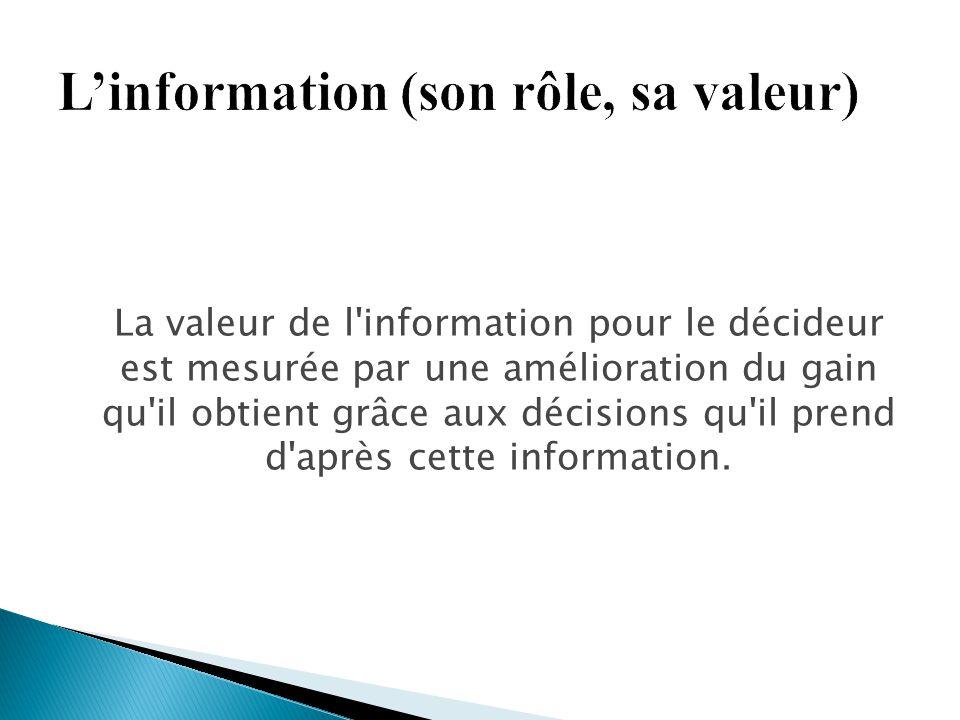 La valeur de l'information pour le décideur est mesurée par une amélioration du gain qu'il obtient grâce aux décisions qu'il prend d'après cette infor