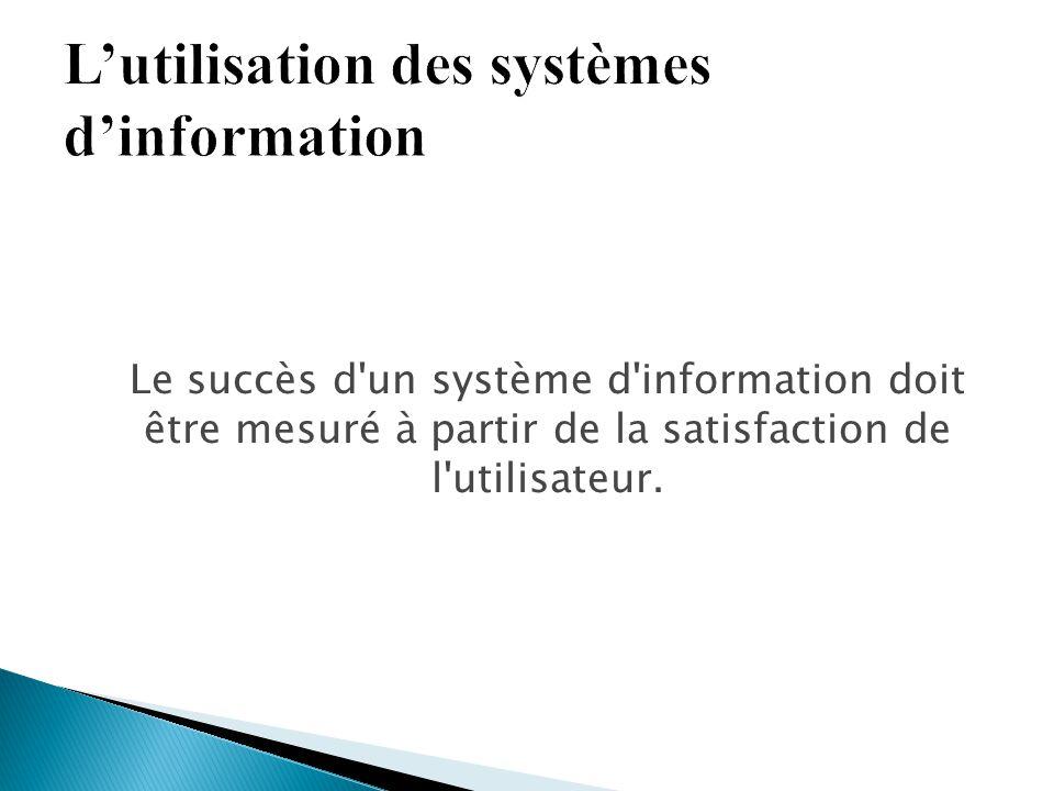 Le succès d'un système d'information doit être mesuré à partir de la satisfaction de l'utilisateur.