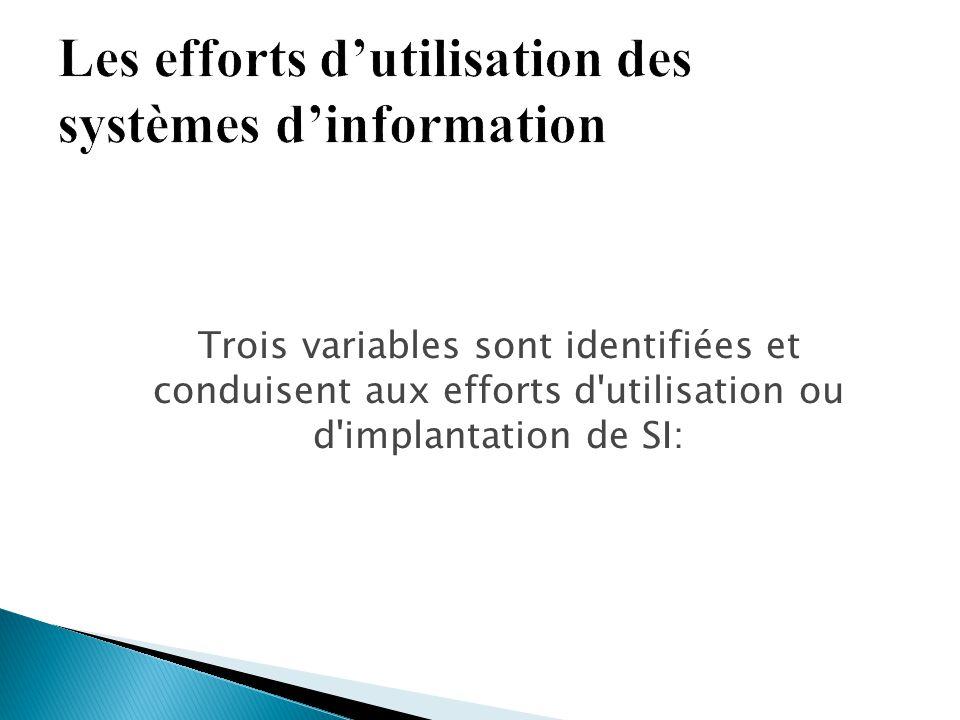 Trois variables sont identifiées et conduisent aux efforts d'utilisation ou d'implantation de SI: