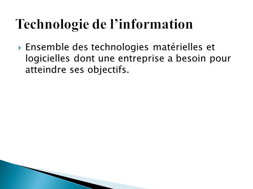  Ensemble des technologies matérielles et logicielles dont une entreprise a besoin pour atteindre ses objectifs.