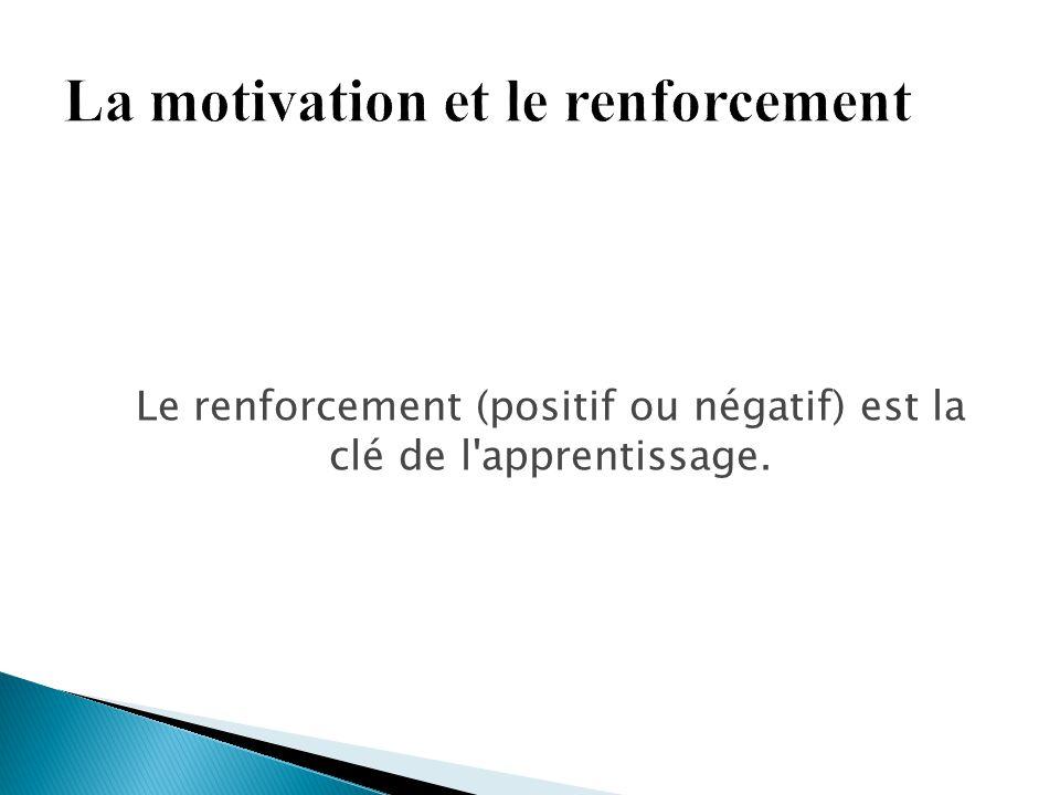 Le renforcement (positif ou négatif) est la clé de l'apprentissage.