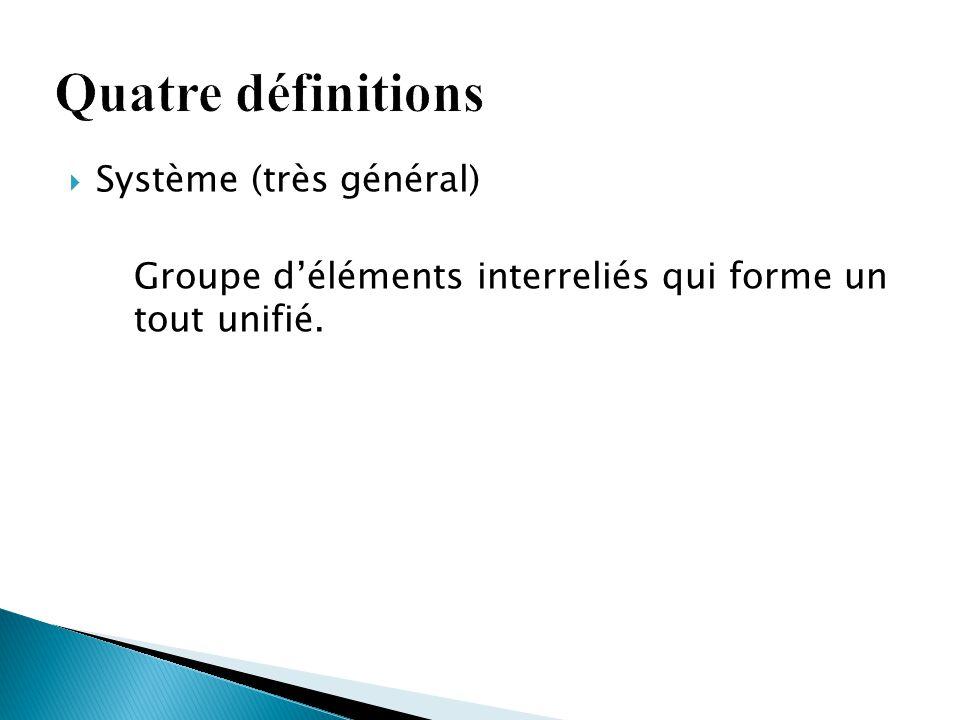  Système (très général) Groupe d'éléments interreliés qui forme un tout unifié.