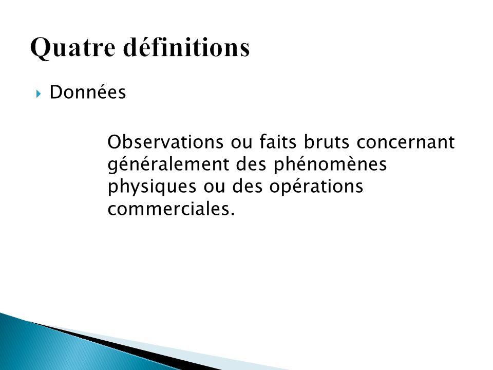  Données Observations ou faits bruts concernant généralement des phénomènes physiques ou des opérations commerciales.