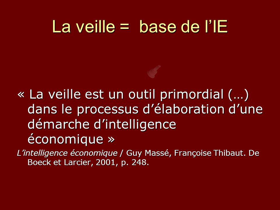 La veille = base de l'IE « La veille est un outil primordial (…) dans le processus d'élaboration d'une démarche d'intelligence économique » L'intelligence économique / Guy Massé, Françoise Thibaut.