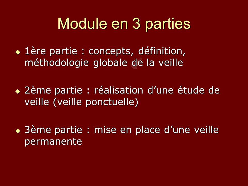 Module en 3 parties  1ère partie : concepts, définition, méthodologie globale de la veille  2ème partie : réalisation d'une étude de veille (veille ponctuelle)  3ème partie : mise en place d'une veille permanente