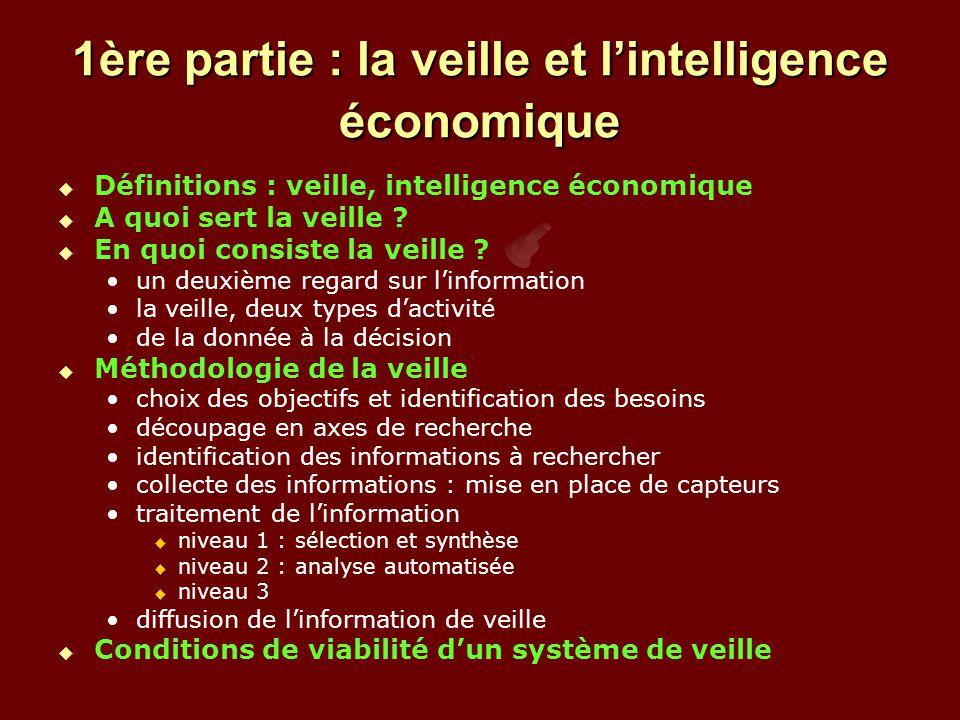 1ère partie : la veille et l'intelligence économique   Définitions : veille, intelligence économique   A quoi sert la veille .