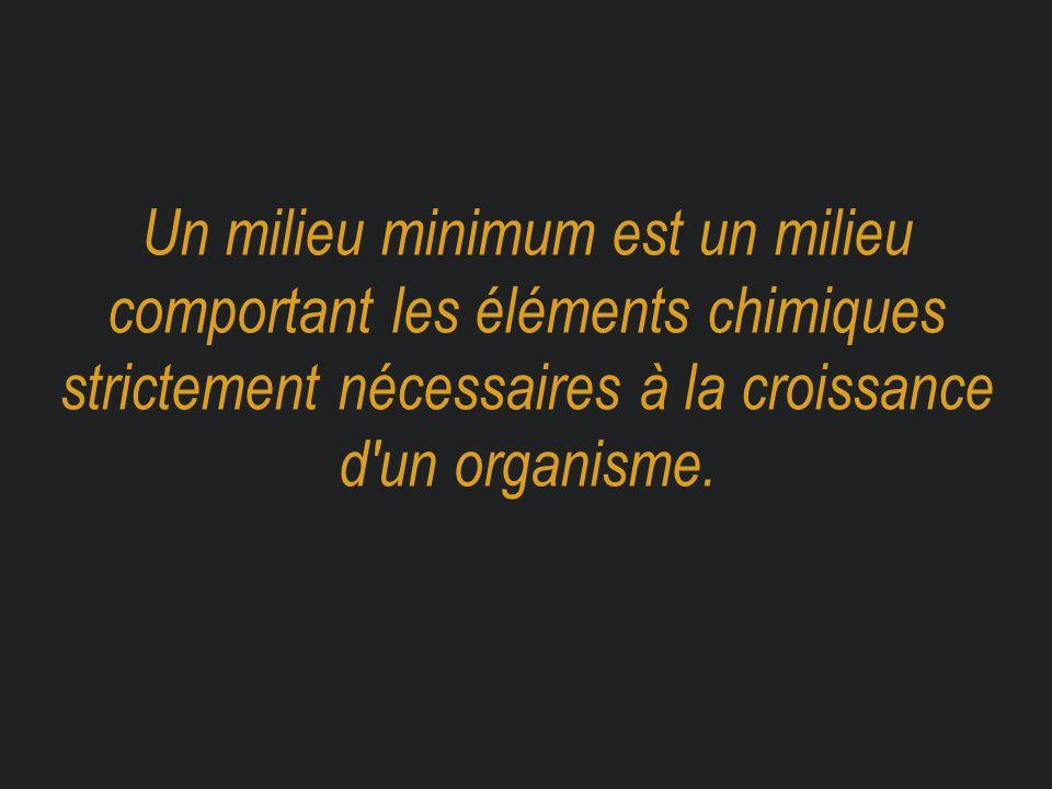 Un milieu minimum est un milieu comportant les éléments chimiques strictement nécessaires à la croissance d'un organisme.