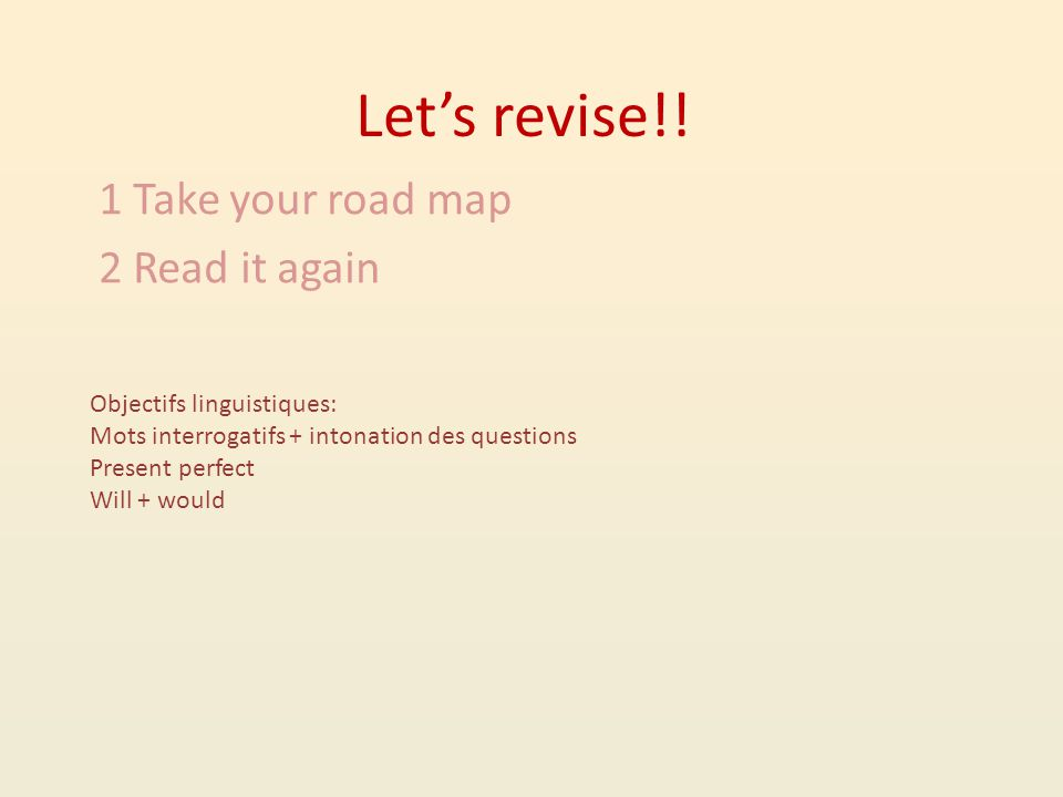 Let's revise!.