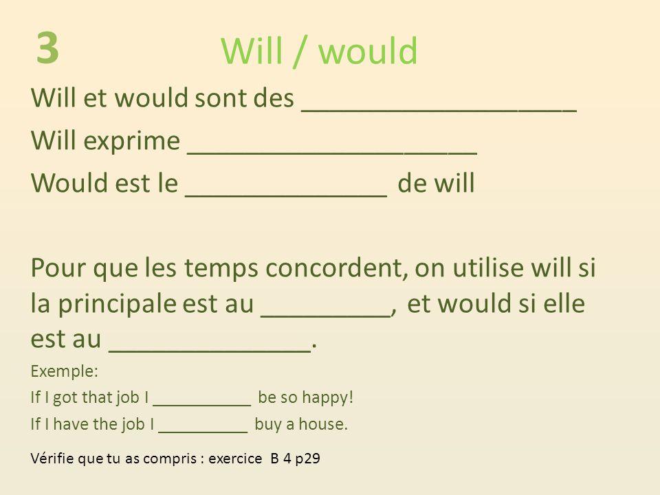 Will / would Will et would sont des ___________________ Will exprime ____________________ Would est le ______________ de will Pour que les temps concordent, on utilise will si la principale est au _________, et would si elle est au ______________.