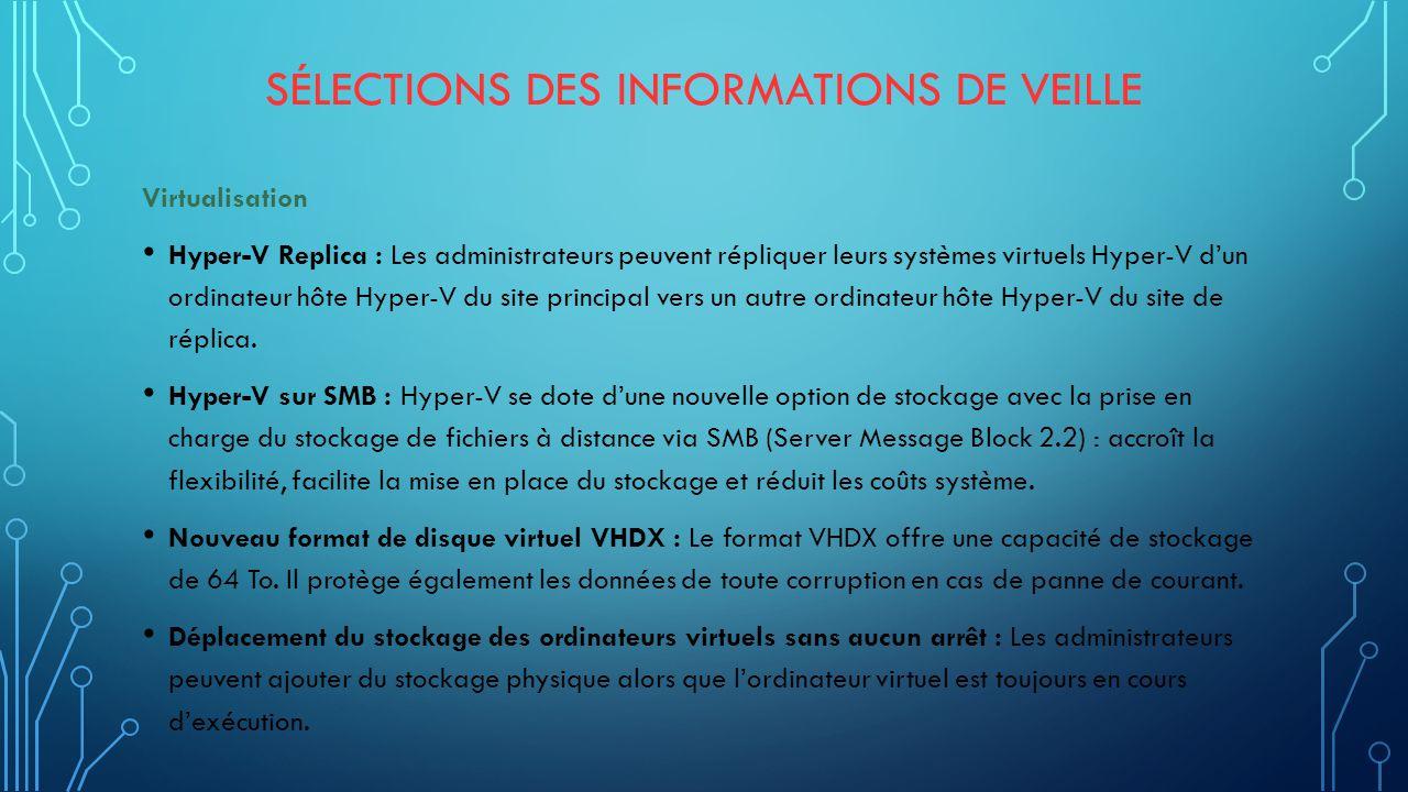 SÉLECTIONS DES INFORMATIONS DE VEILLE Virtualisation Hyper-V Replica : Les administrateurs peuvent répliquer leurs systèmes virtuels Hyper-V d'un ordinateur hôte Hyper-V du site principal vers un autre ordinateur hôte Hyper-V du site de réplica.