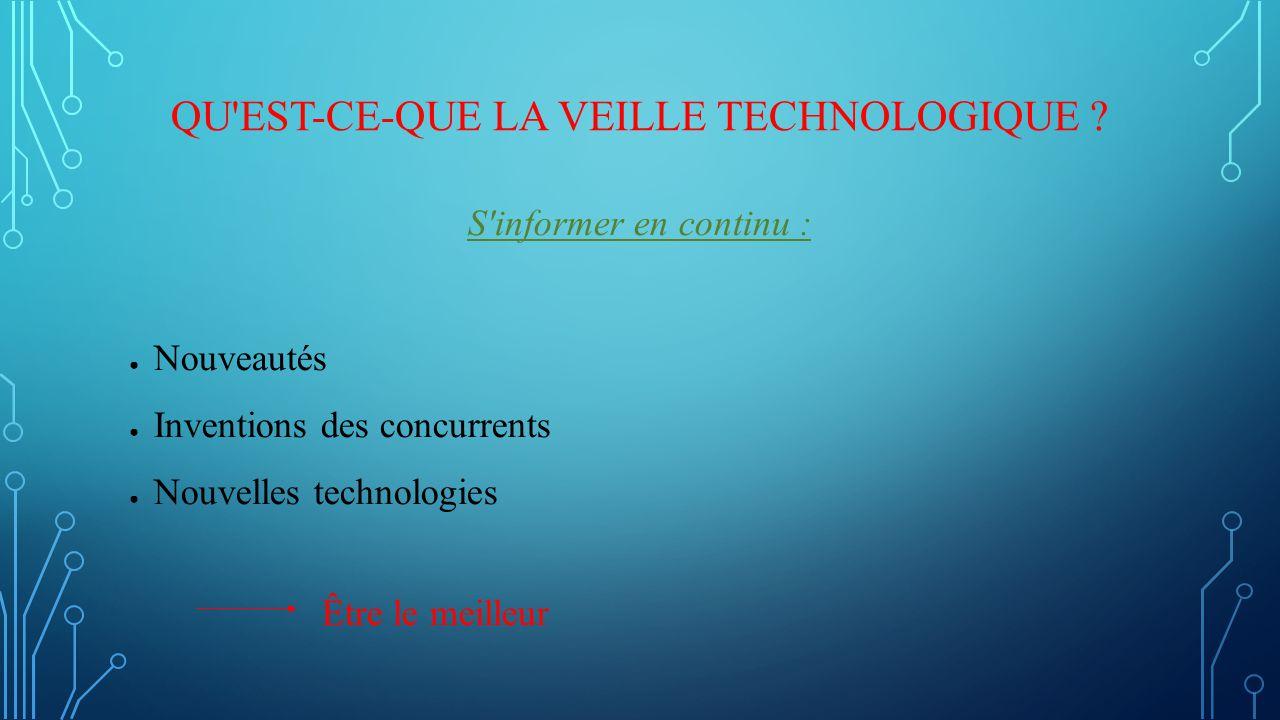 QU'EST-CE-QUE LA VEILLE TECHNOLOGIQUE ? S'informer en continu : ● Nouveautés ● Inventions des concurrents ● Nouvelles technologies Être le meilleur