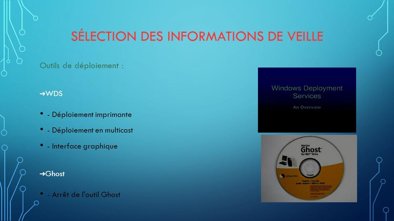 SÉLECTION DES INFORMATIONS DE VEILLE Outils de déploiement : ➔ WDS - Déploiement imprimante - Déploiement en multicast - Interface graphique ➔ Ghost - Arrêt de l outil Ghost