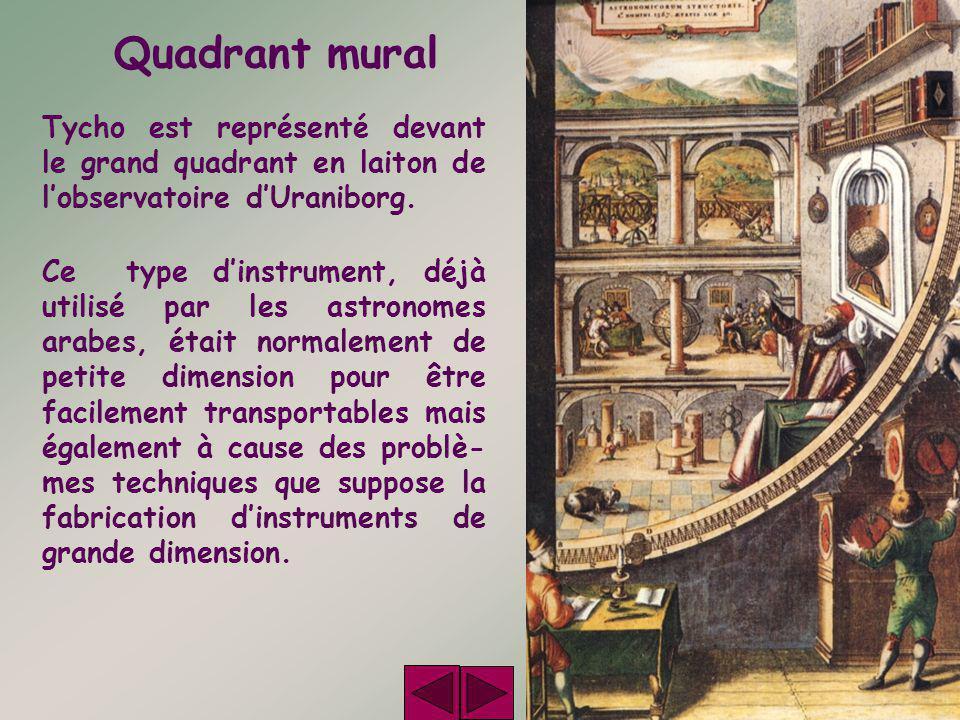 Quadrant mural Tycho est représenté devant le grand quadrant en laiton de l'observatoire d'Uraniborg. Ce type d'instrument, déjà utilisé par les astro