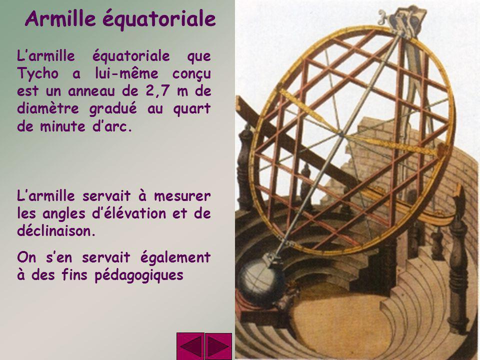 Armille équatoriale L'armille équatoriale que Tycho a lui-même conçu est un anneau de 2,7 m de diamètre gradué au quart de minute d'arc. L'armille ser