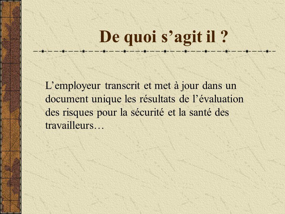 De quoi s'agit il ? L'employeur transcrit et met à jour dans un document unique les résultats de l'évaluation des risques pour la sécurité et la santé
