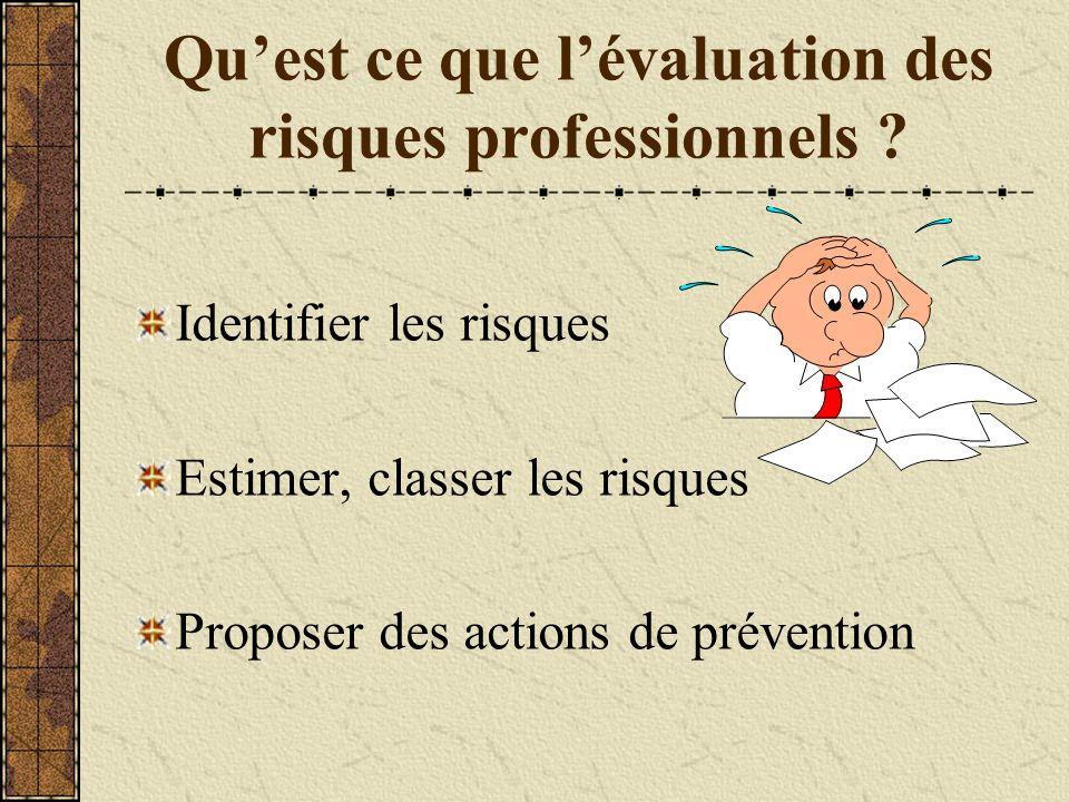 Qu'est ce que l'évaluation des risques professionnels ? Identifier les risques Estimer, classer les risques Proposer des actions de prévention