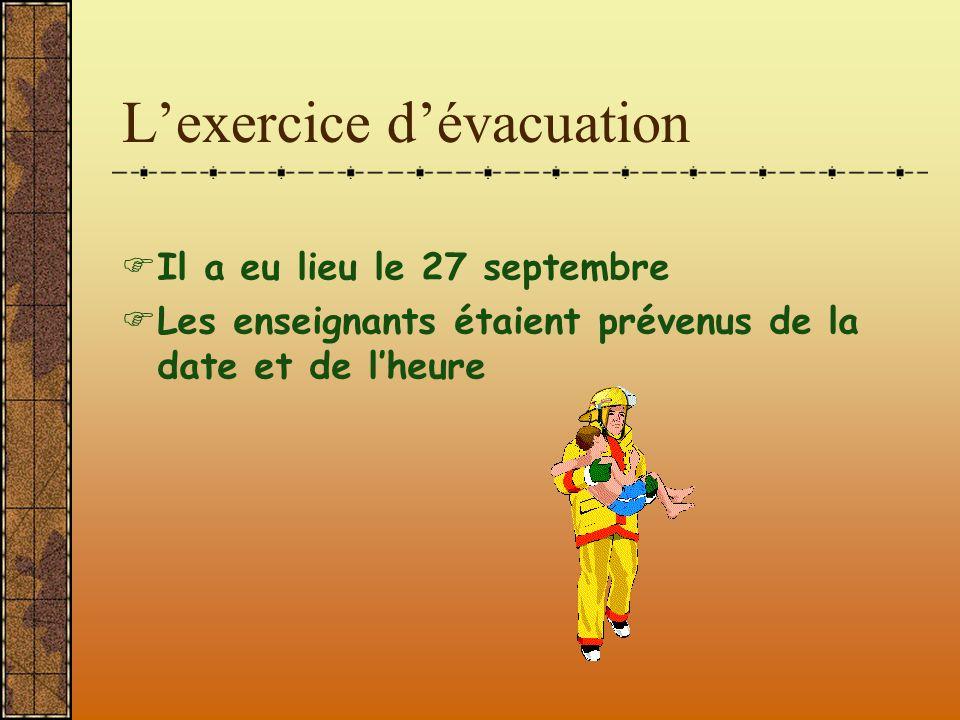 L'exercice d'évacuation  Il a eu lieu le 27 septembre  Les enseignants étaient prévenus de la date et de l'heure