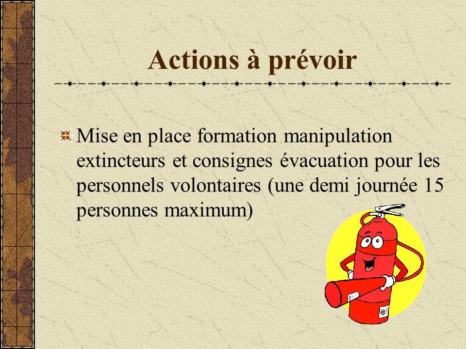 Actions à prévoir Mise en place formation manipulation extincteurs et consignes évacuation pour les personnels volontaires (une demi journée 15 person