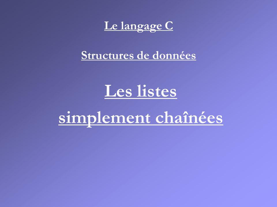 Le langage C Structures de données Les listes simplement chaînées
