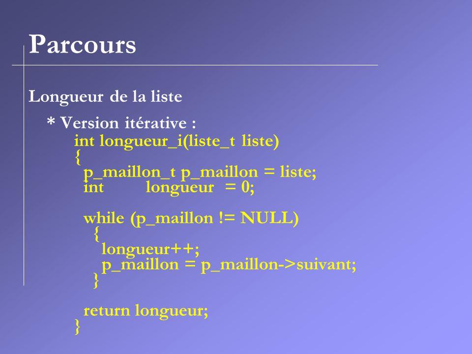 Parcours Longueur de la liste * Version itérative : int longueur_i(liste_t liste) { p_maillon_t p_maillon = liste; int longueur = 0; while (p_maillon != NULL) { longueur++; p_maillon = p_maillon->suivant; } return longueur; }