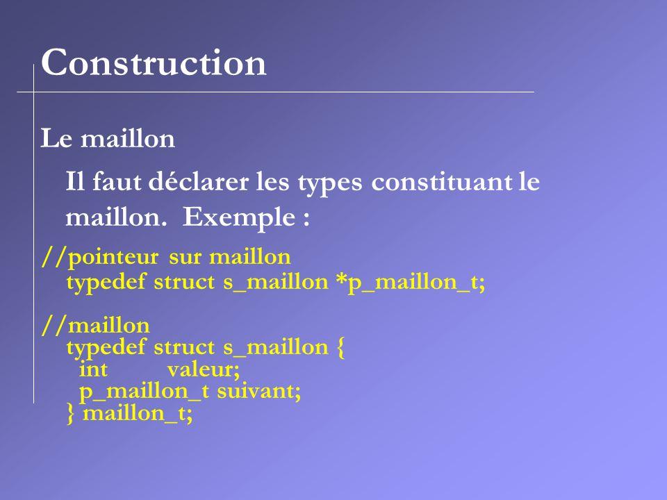 Construction Le maillon Il faut déclarer les types constituant le maillon. Exemple : //pointeur sur maillon typedef struct s_maillon *p_maillon_t; //m