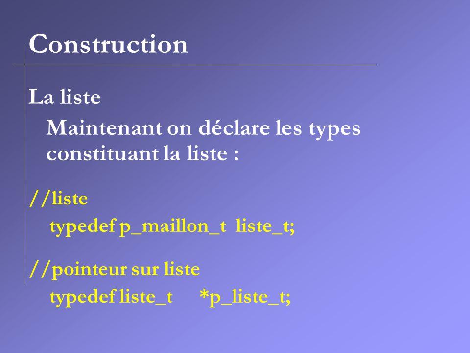 Construction La liste Maintenant on déclare les types constituant la liste : //liste typedef p_maillon_t liste_t; //pointeur sur liste typedef liste_t *p_liste_t;