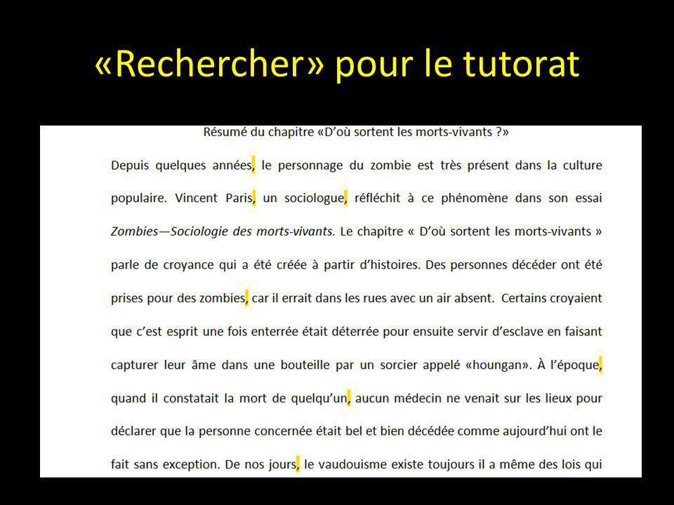 «Rechercher» pour le tutorat