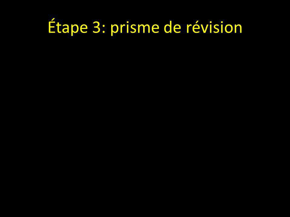 Étape 3: prisme de révision