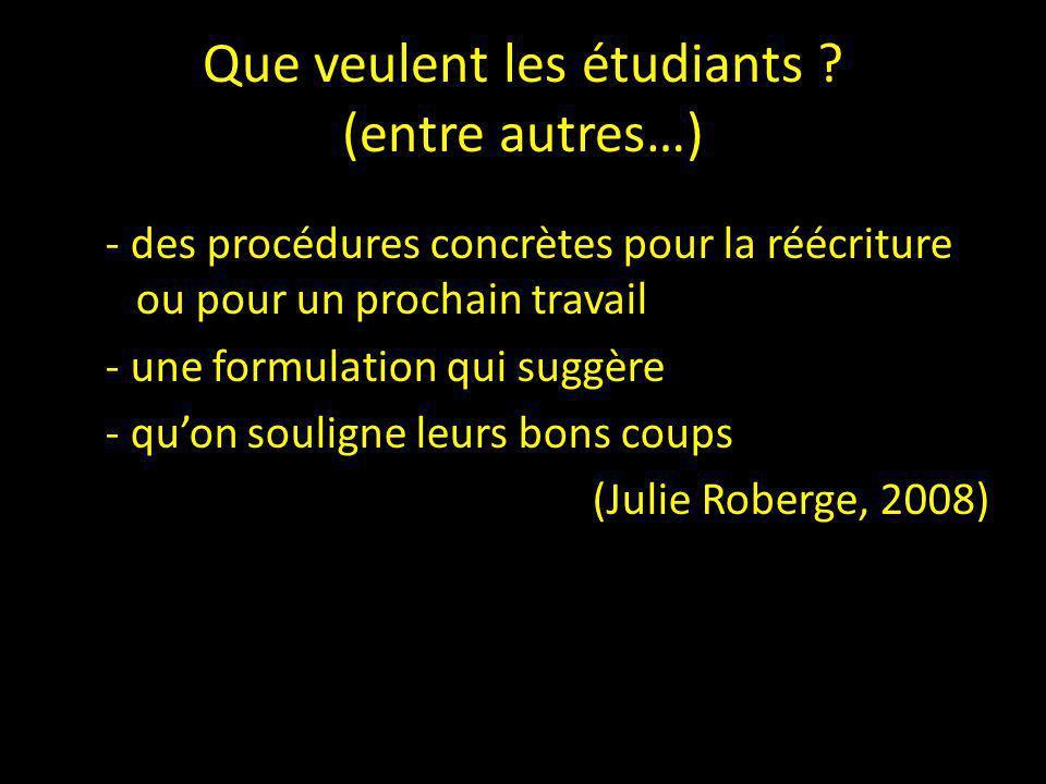 Que veulent les étudiants ? (entre autres…) - des procédures concrètes pour la réécriture ou pour un prochain travail - une formulation qui suggère -