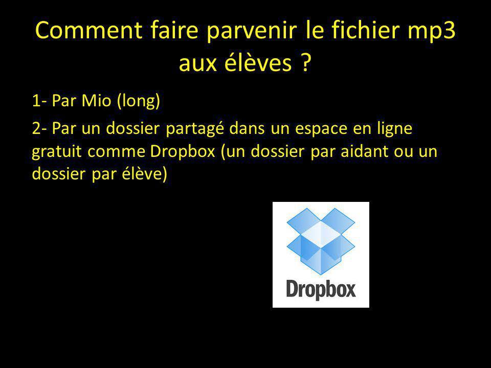 Comment faire parvenir le fichier mp3 aux élèves ? 1- Par Mio (long) 2- Par un dossier partagé dans un espace en ligne gratuit comme Dropbox (un dossi